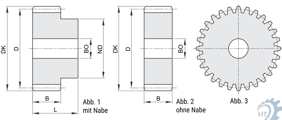 Stirnzahnrad aus Stahl C45 Modul 1.5 20 Zähne ohne Nabe Qualität 8-9