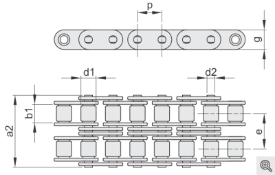 Rollenketten zweifach/duplex mit gerader Lasche
