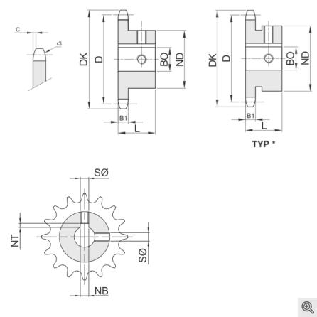 Kettenräder für Rollenketten System HT