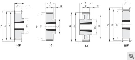 Zeichnung Zahnriemenräder Taper 10f+10+13+15f