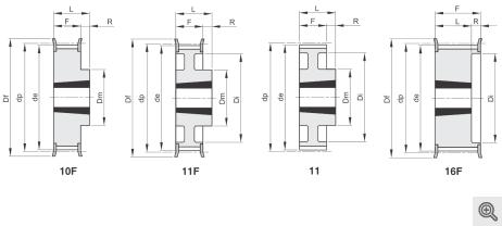Zeichnung Zahnriemenräder 10f+11f+11+16f Taper