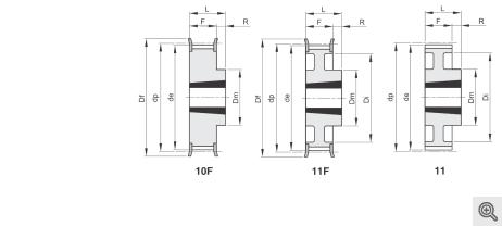 Zeichnung Zahnriemenräder 10f+11f+11 Taper