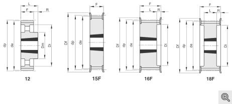 Zeichnung Zahnriemenräder 12-15f-16f-18f Taper