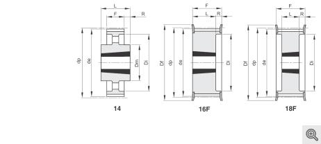 Zeichnung Zahnriemenräder 14-16f-18f Taper