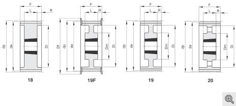 Zeichnung Zahnriemenräder 18-19f-19-20 Taper