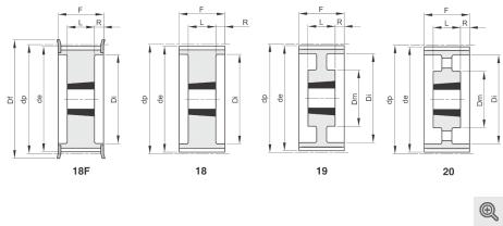 Zeichnung Zahnriemenräder 18f-18-19-20 Taper