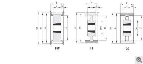 Zeichnung Zahnriemenräder 18f-19-20 Taper