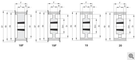 Zeichnung Zahnriemenräder 18f-19f-19-20 Taper