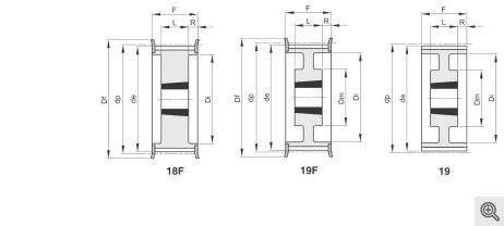 Zeichnung Zahnriemenräder 18f-19f-19 Taper