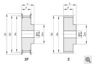 Zeichnung Zahnriemenräder 2f+2