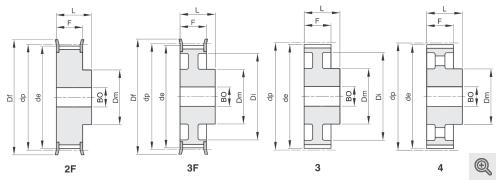 Zeichnung Zahnriemenräder 2f+3f+3+4