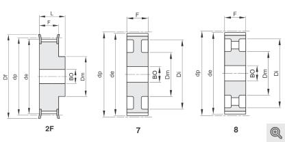 Zeichnung Zahnriemenräder 2f+7+8