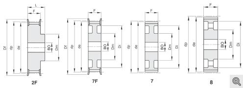 Zeichnung Zahnriemenräder 2f+7f+7+8