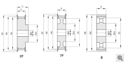Zeichnung Zahnriemenräder 2f+7f+8
