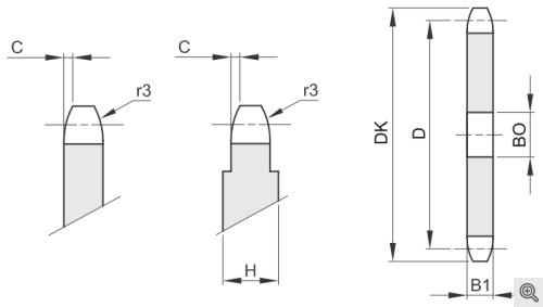 Kettenradscheibe für Rollenketten simplex/einfach