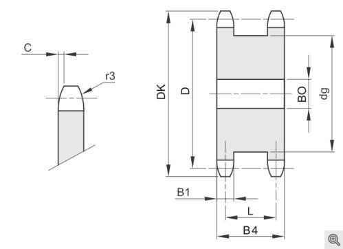 Doppelkettenradscheiben für 2 Rollenketten simplex/einfach