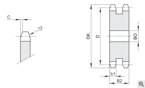 Kettenradscheiben für Rollenketten duplex/2-fach