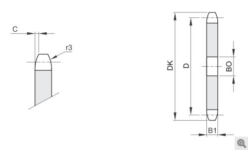 Kettenradscheiben für Rollenketten simplex/einfach