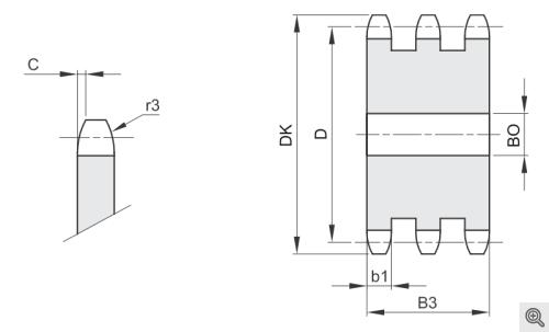Kettenradscheiben für Rollenketten triplex/dreifach