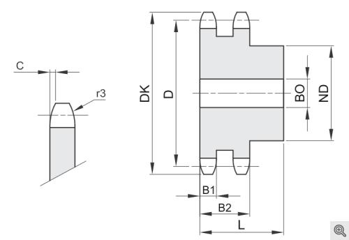 Kettenräder für Rollenketten duplex/zweifach