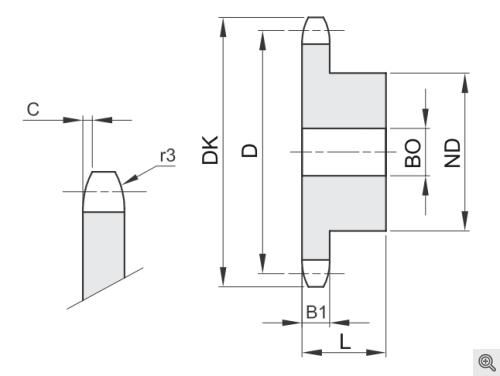 Kettenräder für Rollenketten simplex/einfach